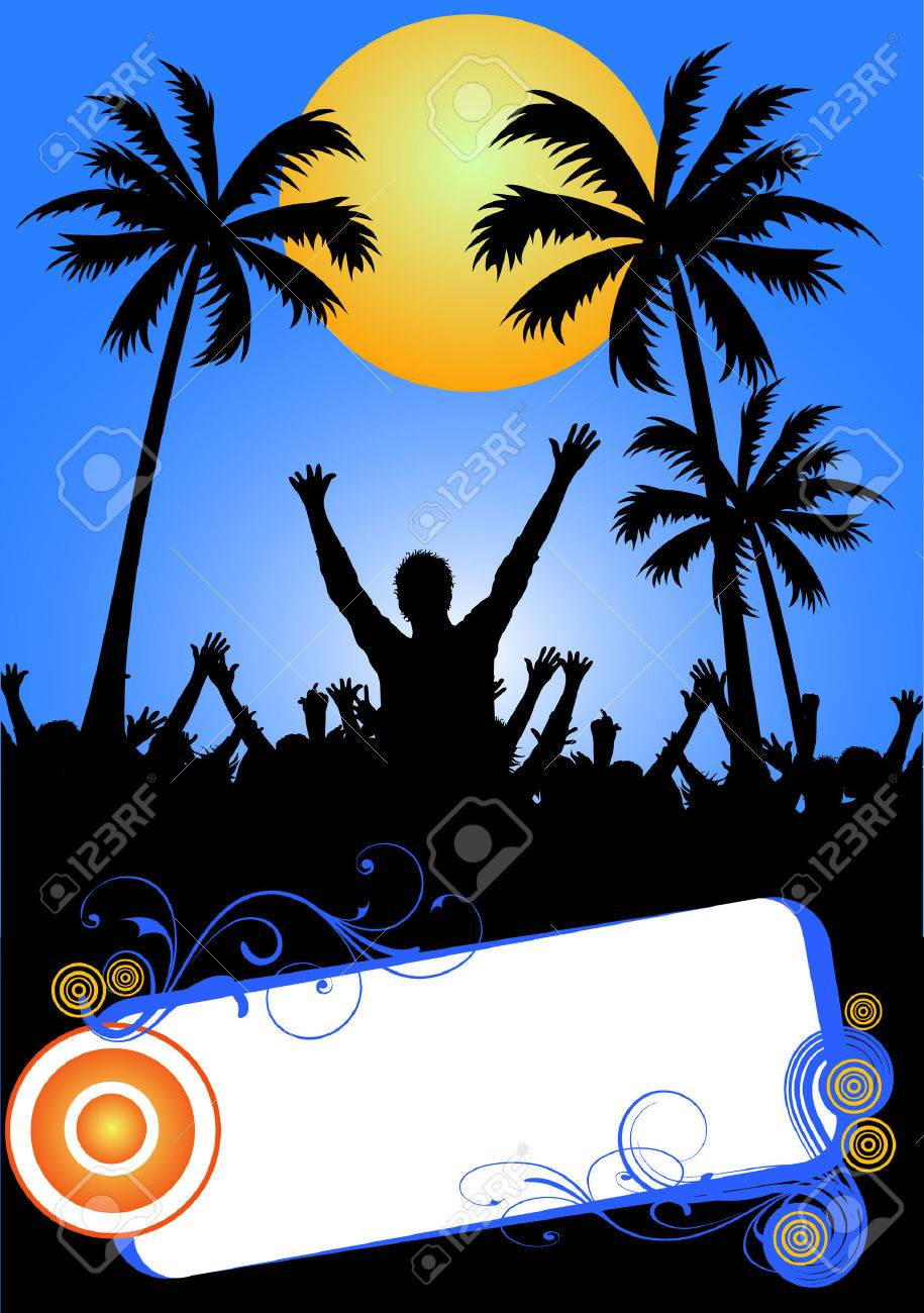 blue summer party placard Stock Vector - 4917487