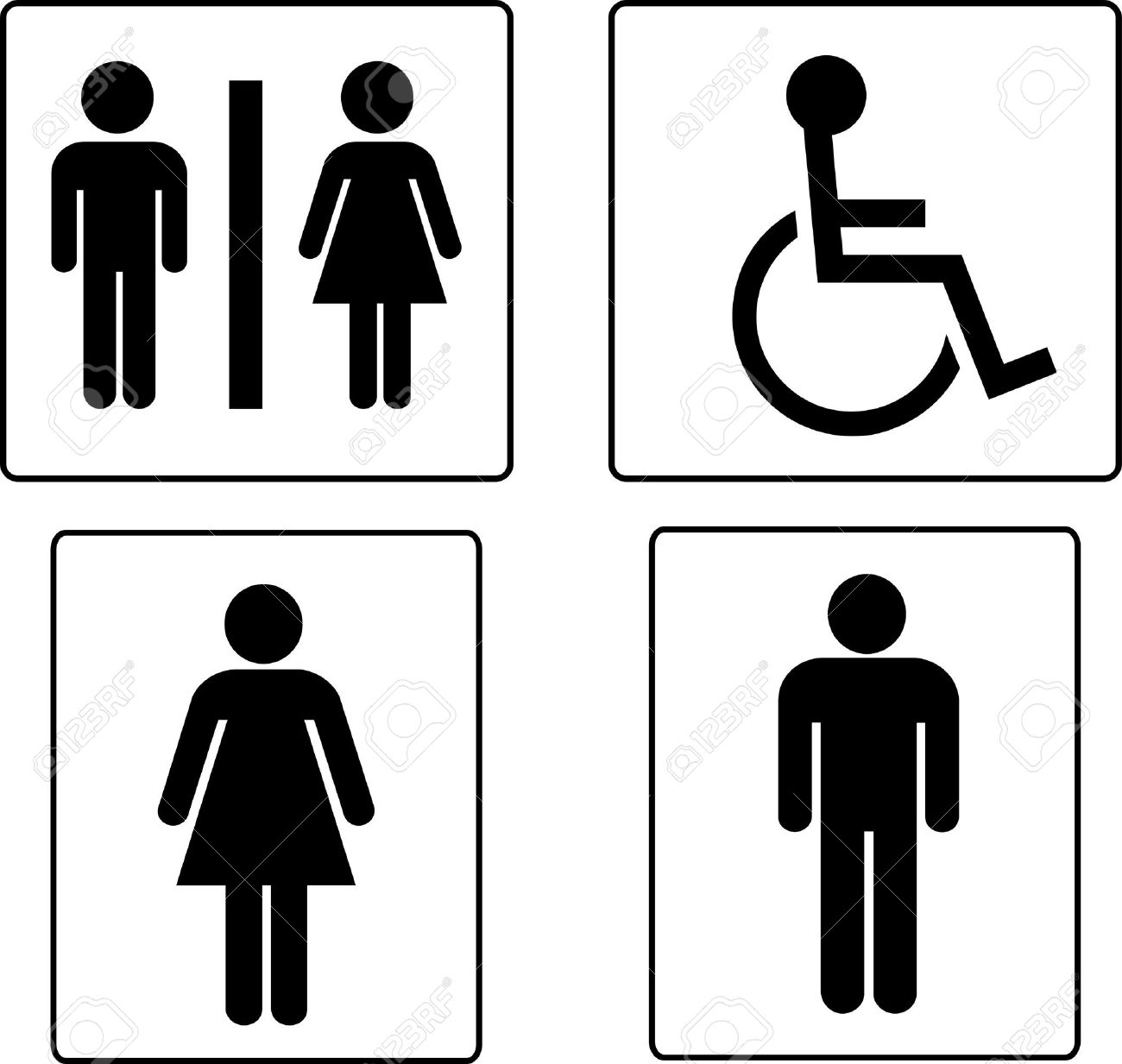 Bathroom sign with arrow - Stock Photo Set Of Restroom Symbols
