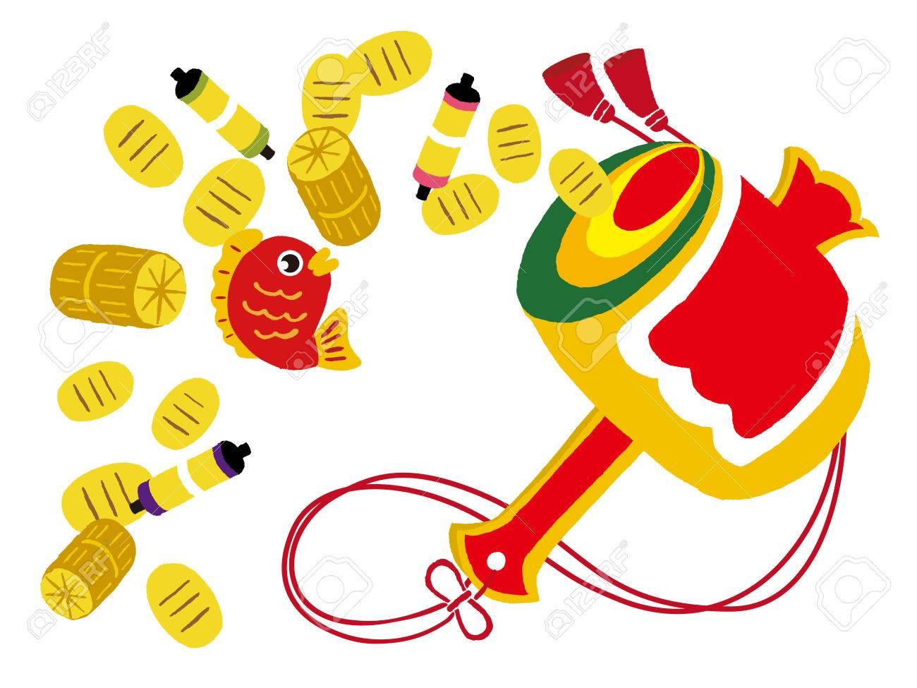 koban, good fortune, gold coins, mallet, red snapper, bag of rice - 63385364