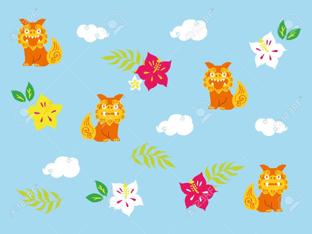 かわいい沖縄風イラストのイラスト素材ベクタ Image 63386399