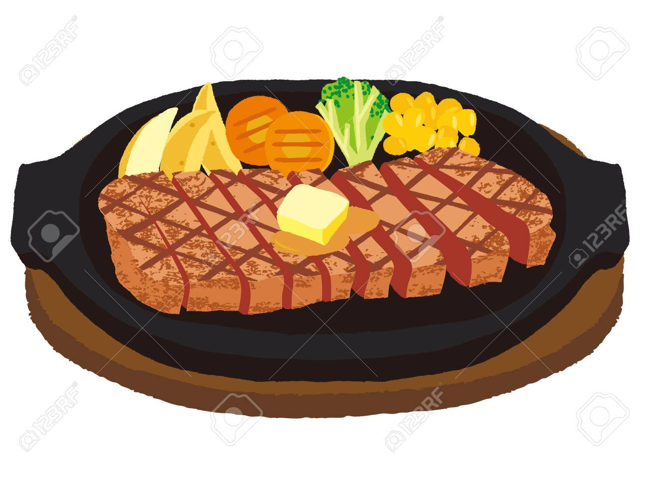 Cut and divided steak - 63386524