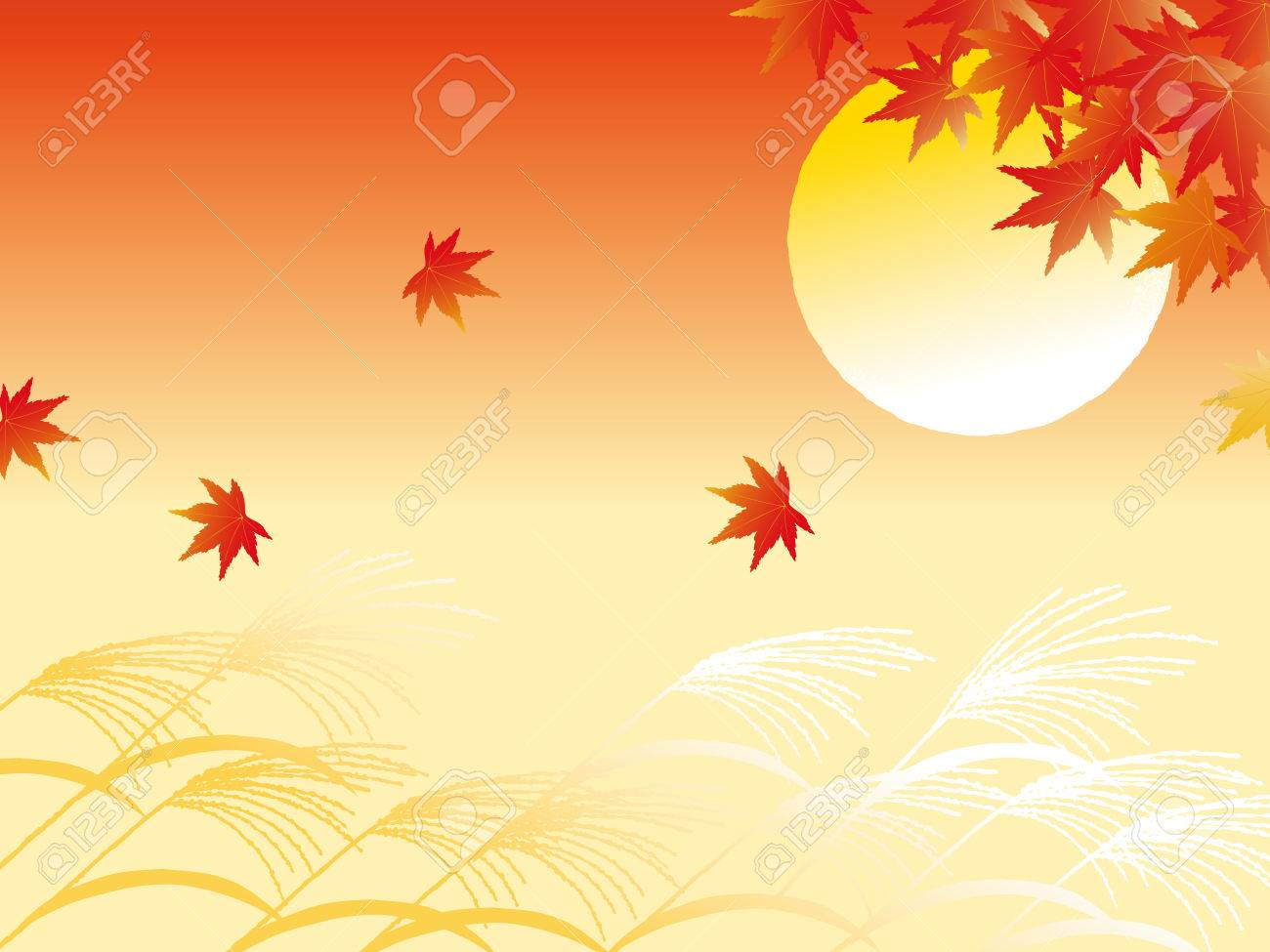 Autumn leaves and full moon - 63387189