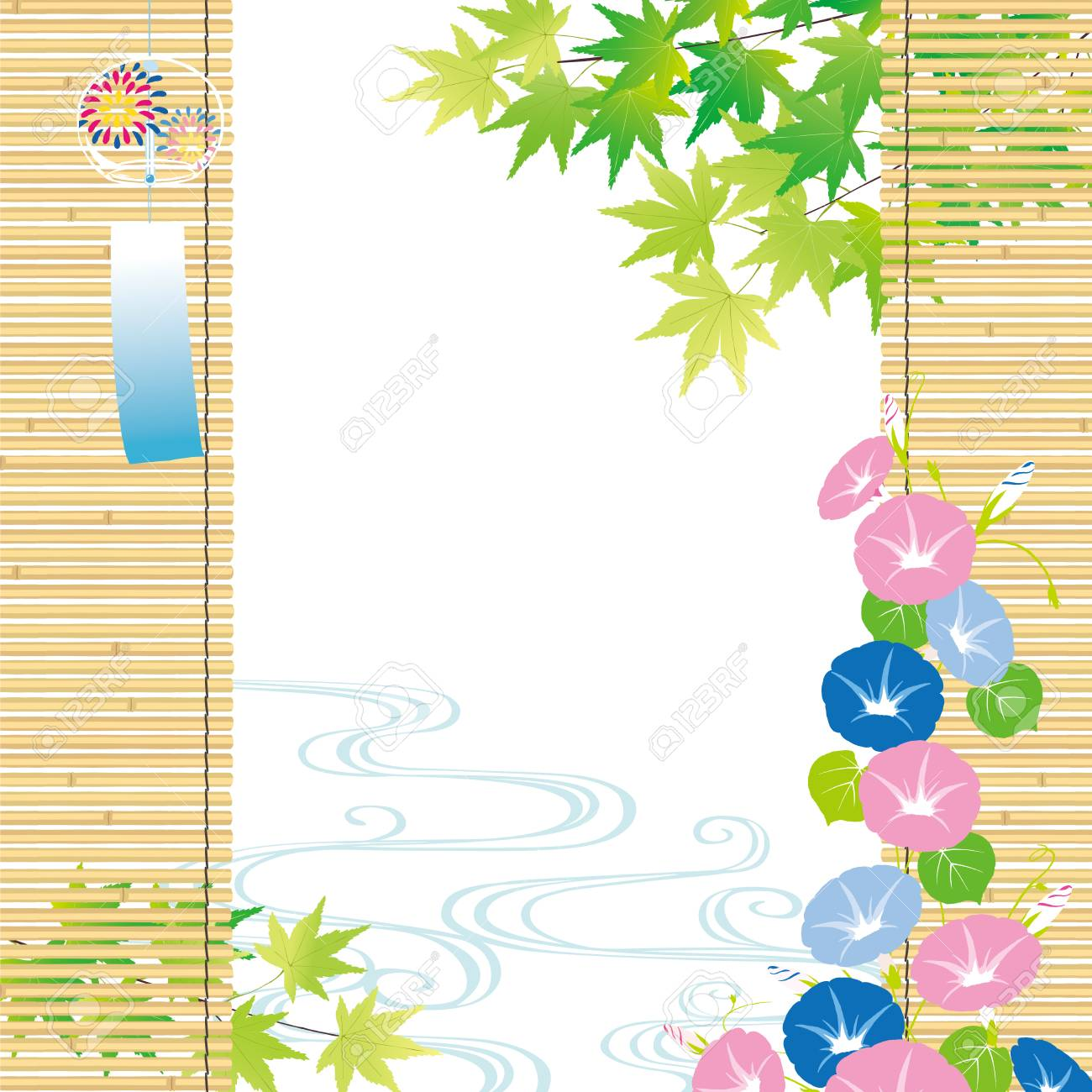 Green maple and morning glory Summer Background - 83808856