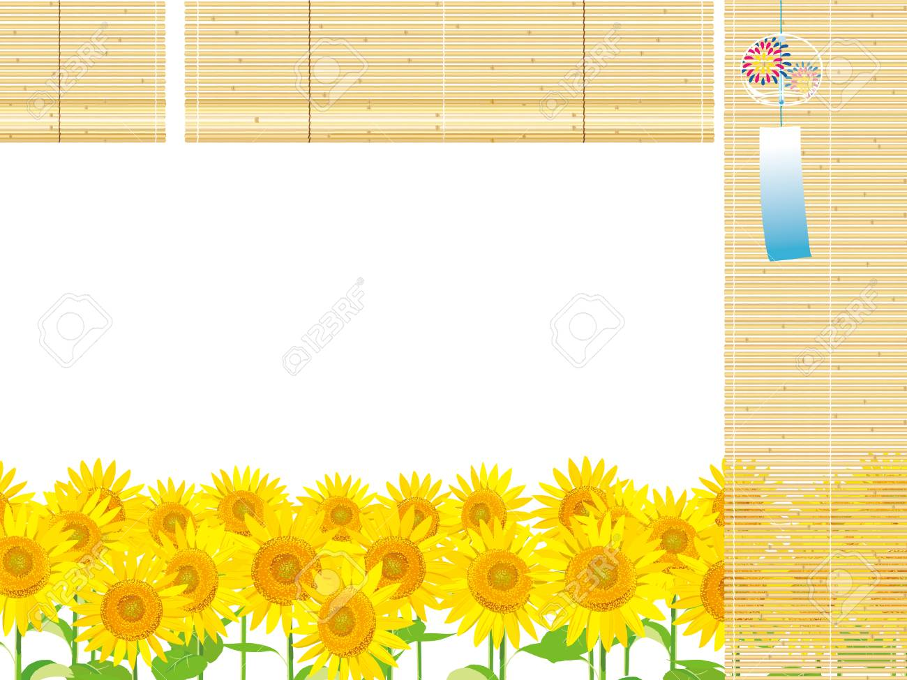 Vector Illustration Wallpaper And Background Landscape Sunflowers