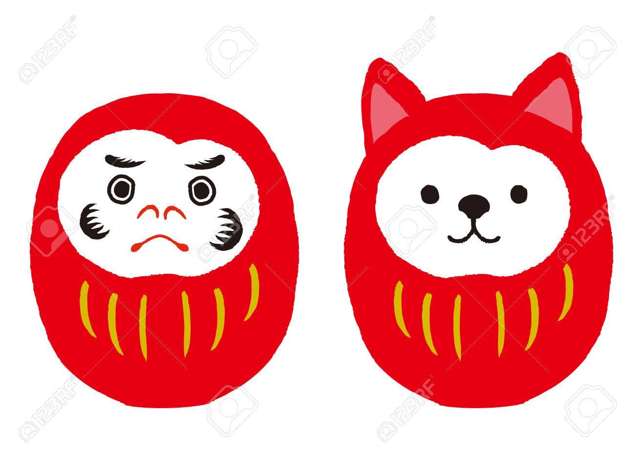 Daruma and dog daruma set. Japanese traditional doll. vector illustration - 84717350
