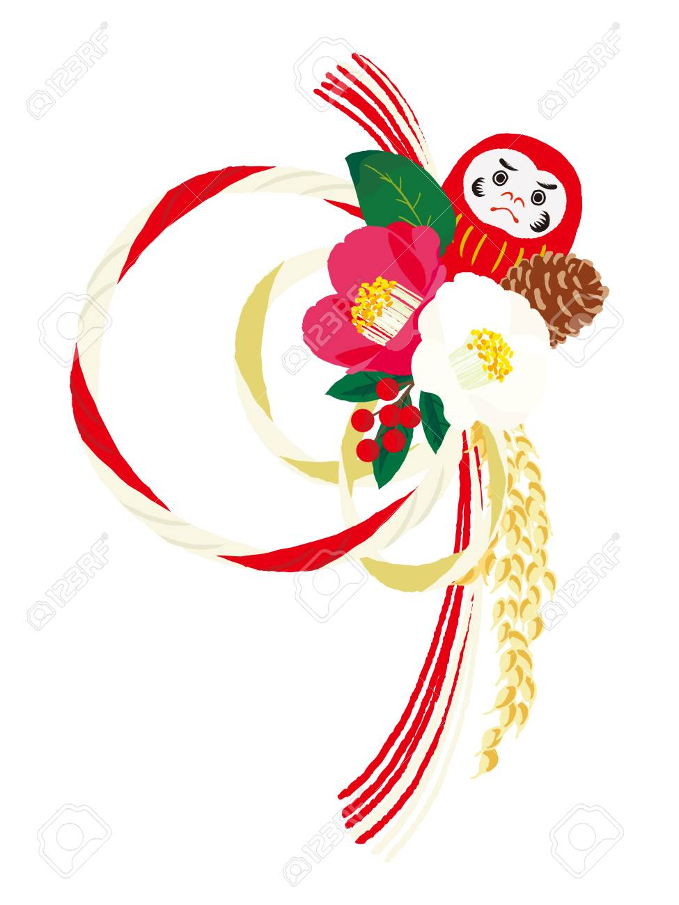 日本の正月飾りのイラスト素材ベクタ Image 84769632