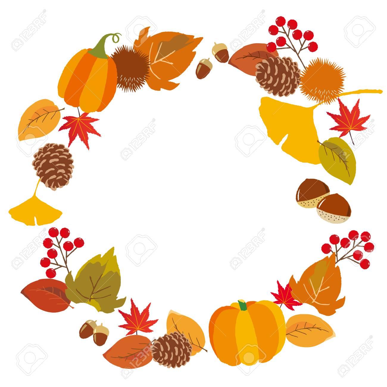 秋の味覚と葉の背景のイラスト素材ベクタ Image 84781606