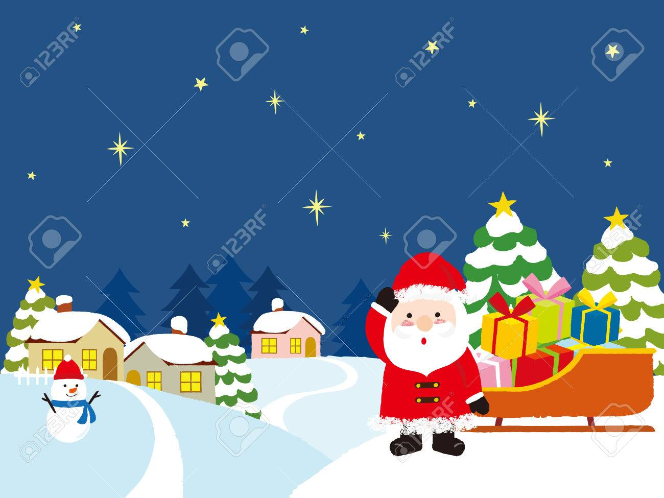 Santa Claus with Christmas gifts and winter house. vector illustration. - 84925683