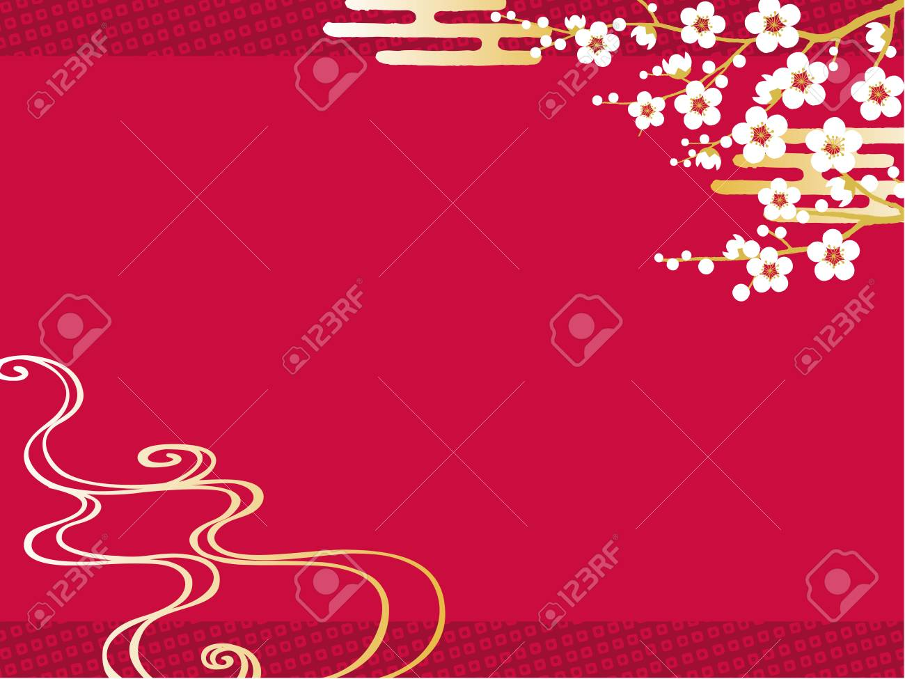 Plum Sea waves New Year's card background - 84925999