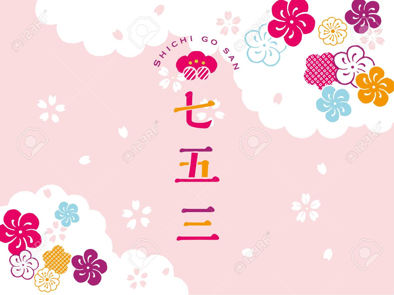 """Japanese festival to celebrate the healthy growth of children layout design / Japanese translation is """"Three-Five-Seven Festival."""" - 86315885"""