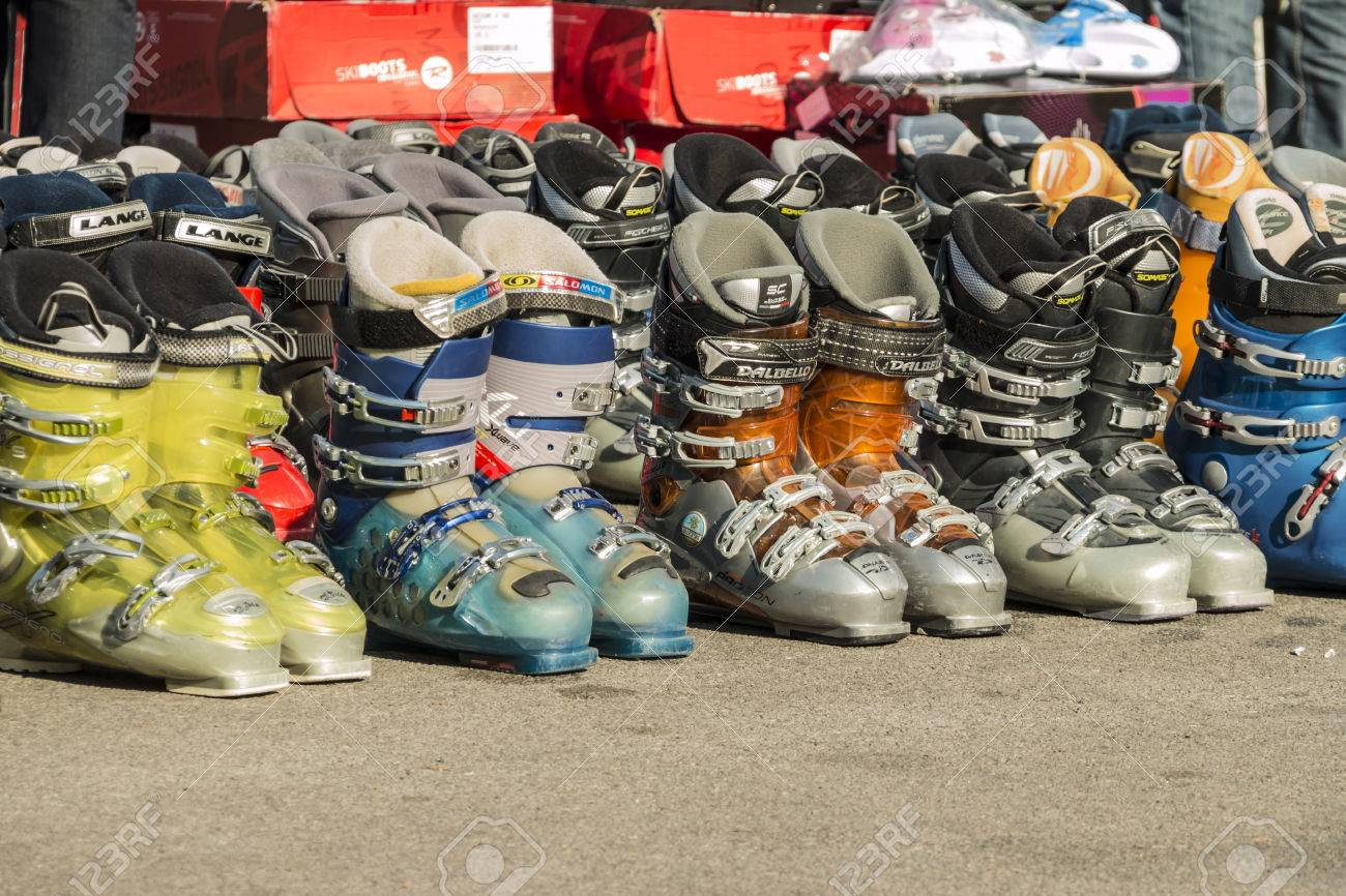 Used Ski Boots >> Market Of Used Ski Boots For Editorial Use Only