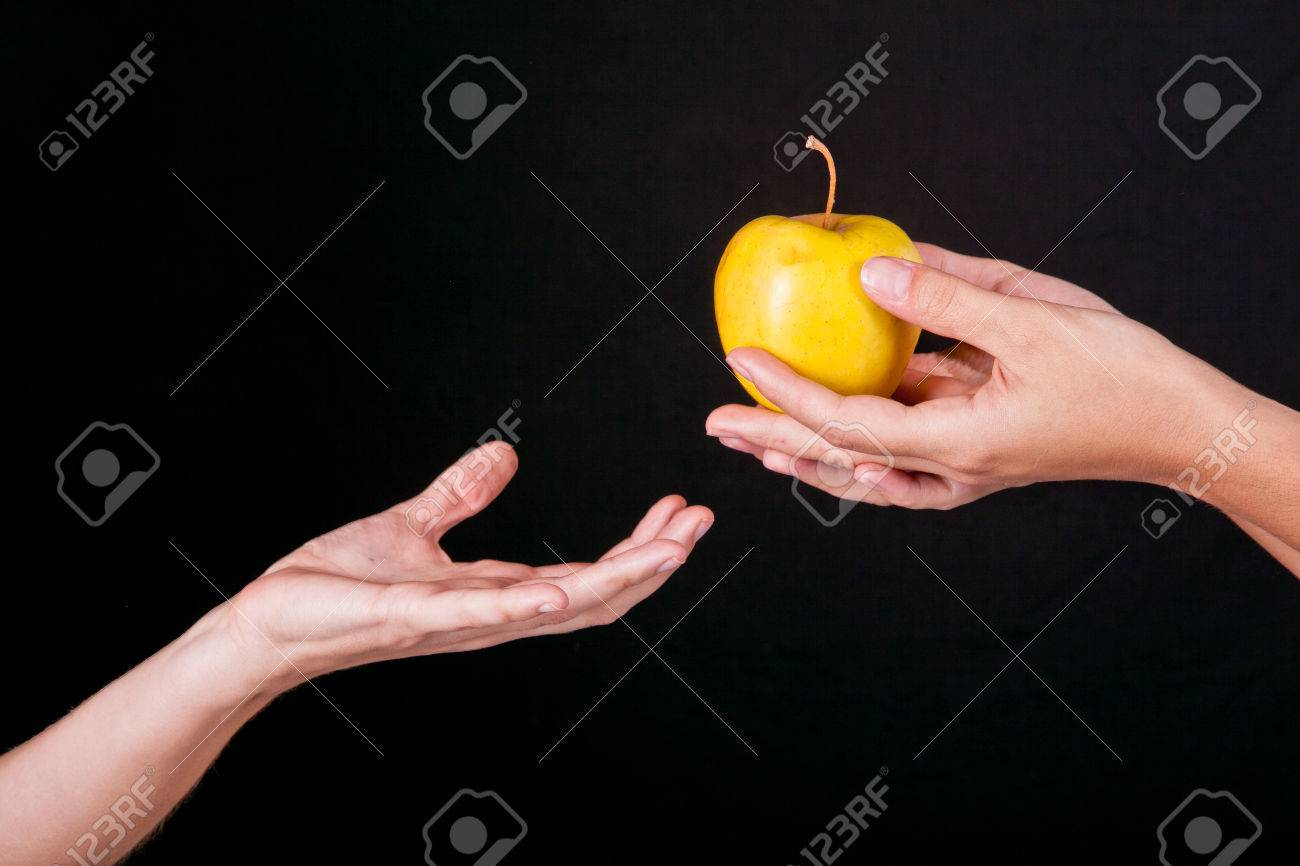 female hands serving apple second female hands - 51909576