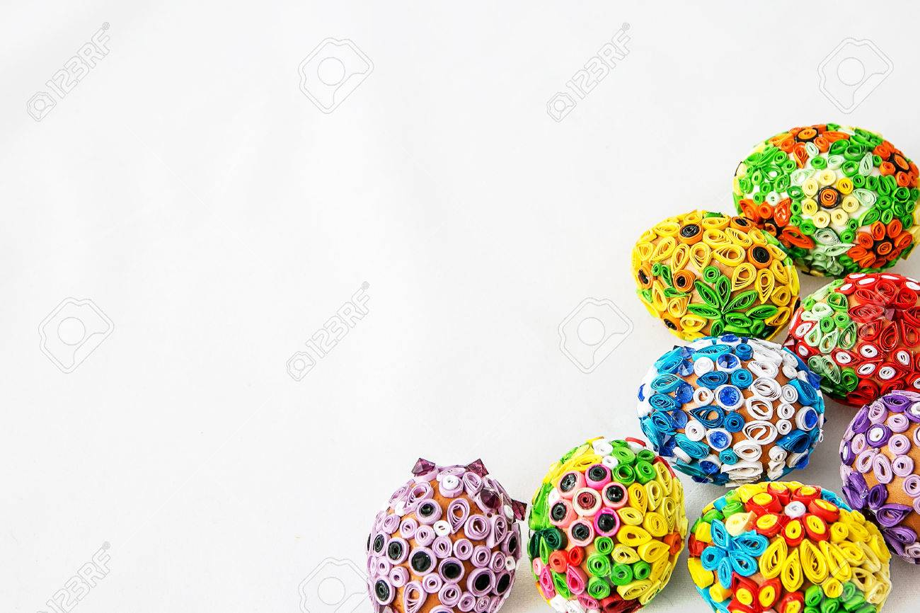 Easter eggs on white background in the right corner - 58442481