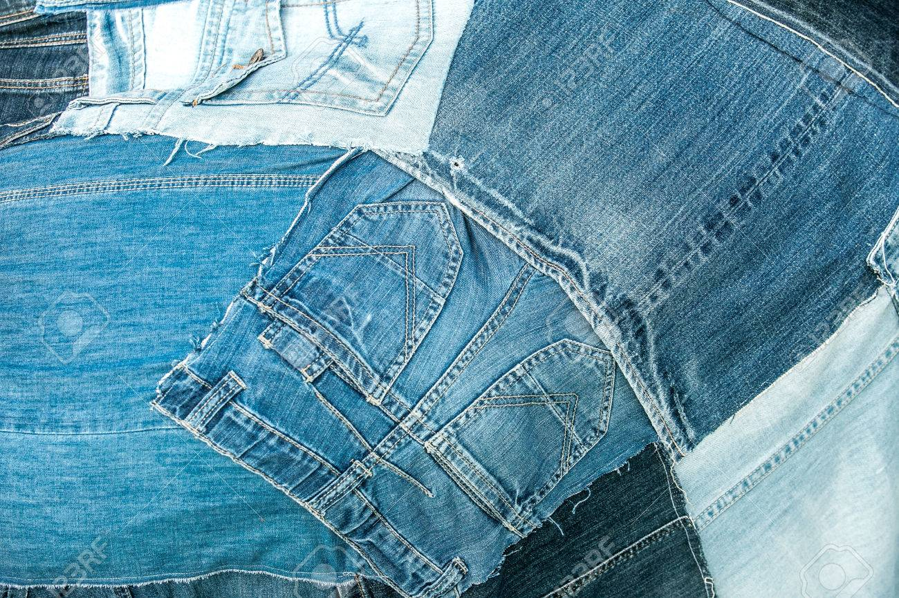 remnants of old jeans trousers folded like a collage - 61998626