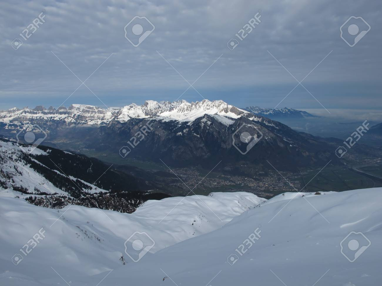 Sargans And Snow Capped Mountains Stock Photo - 17222307