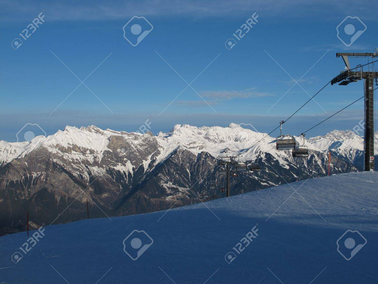 Chair Lift In The Swiss Alps Stock Photo - 17222322