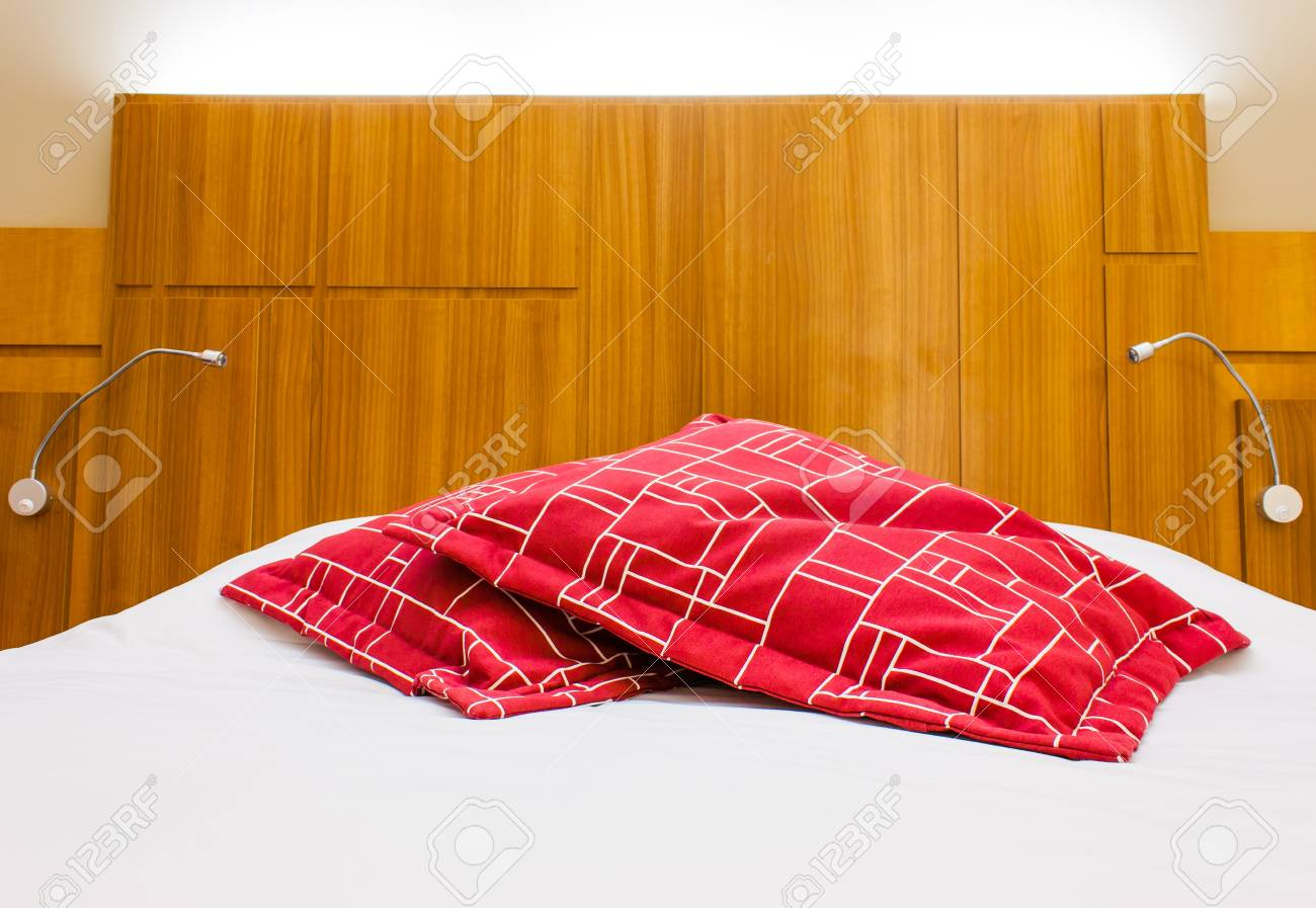 A design red pillow in a modern style bedroom Stock Photo - 17312224