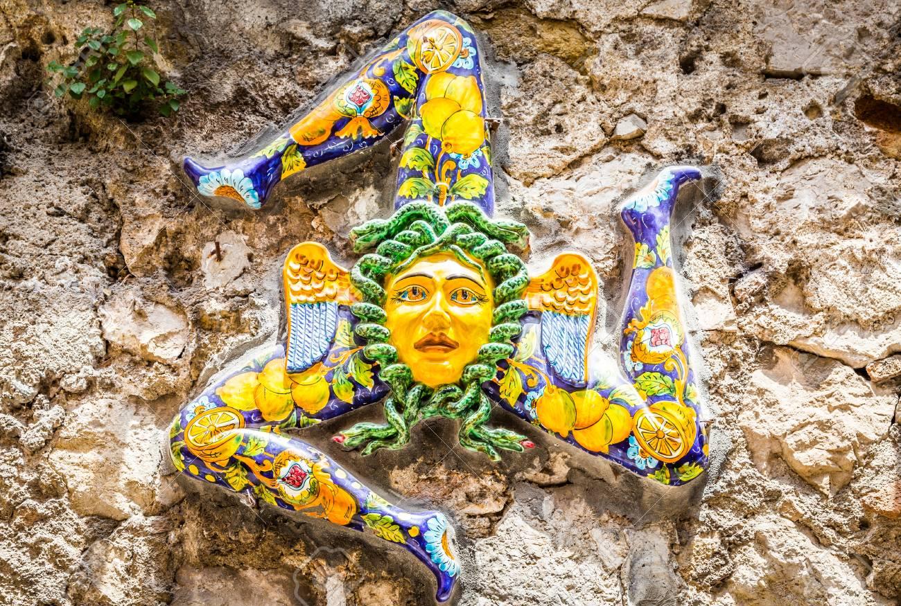 A Typical Ceramic Trinacria The Symbol Of Sicily Hung Along