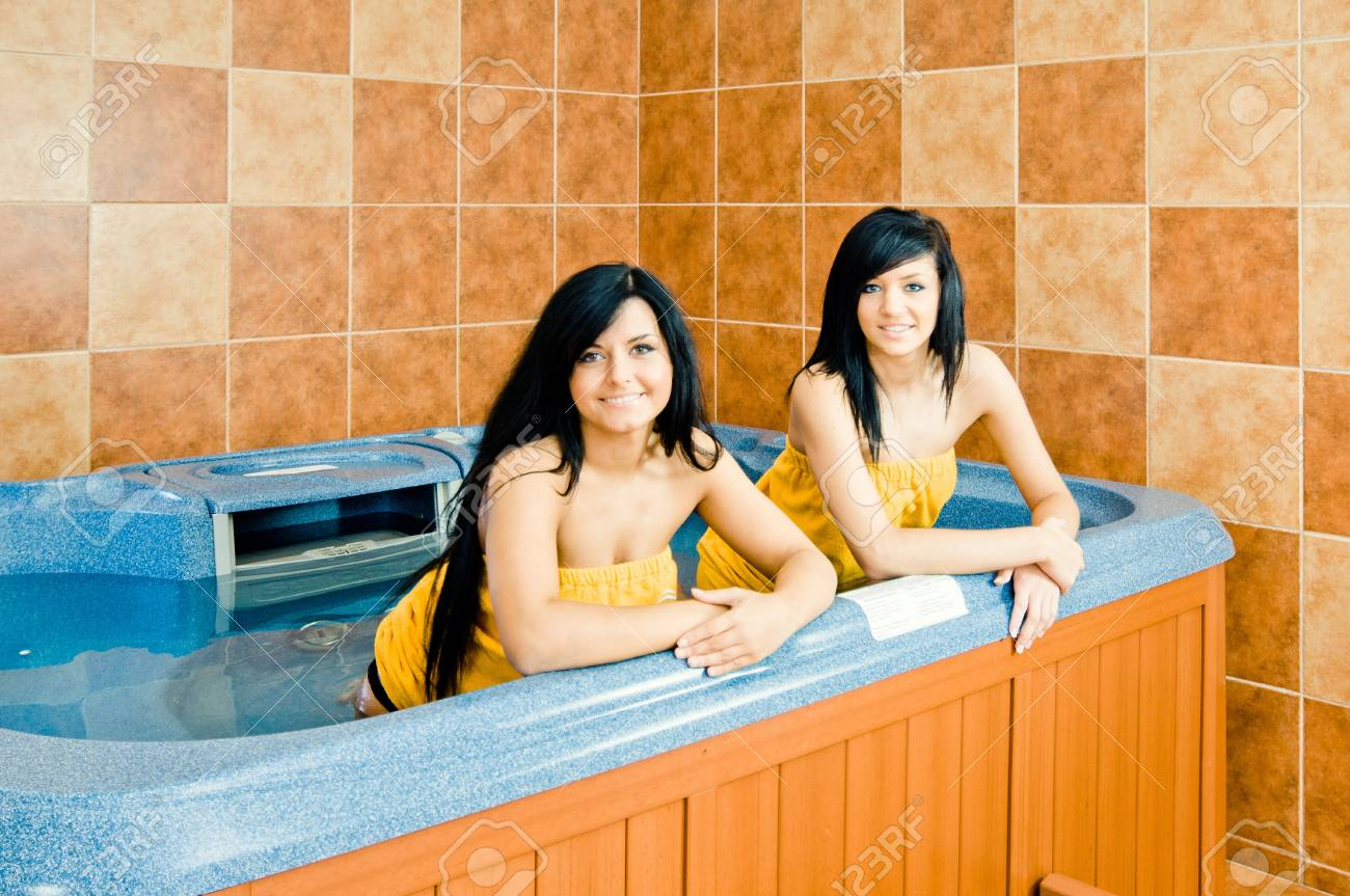 Two young women in the jacuzzi Stock Photo - 13061102