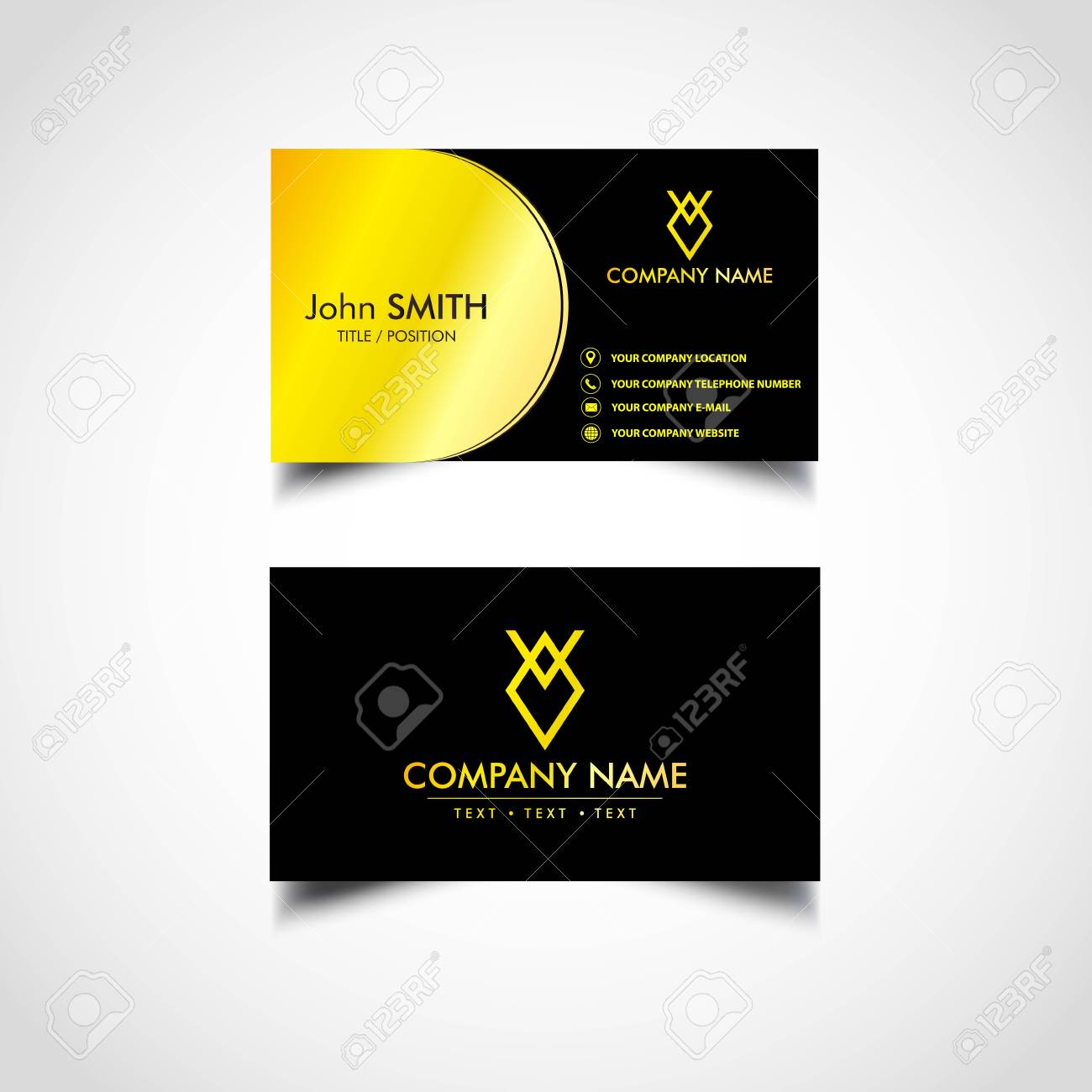 Golden Business Card Template Vector Us Size Eps File Royalty