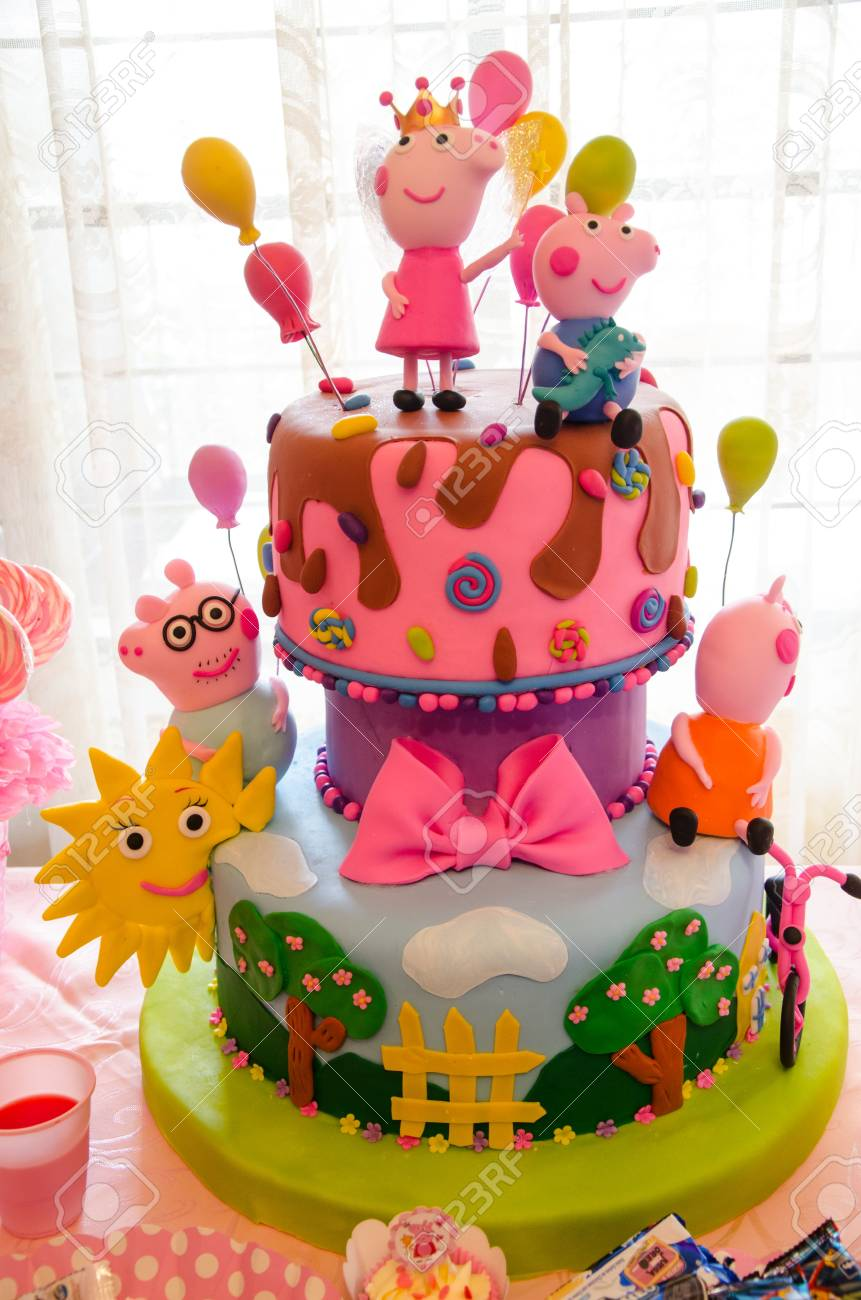 Childrens Party Decoration Cake With Thematic Of Peppa Pig Stock Photo