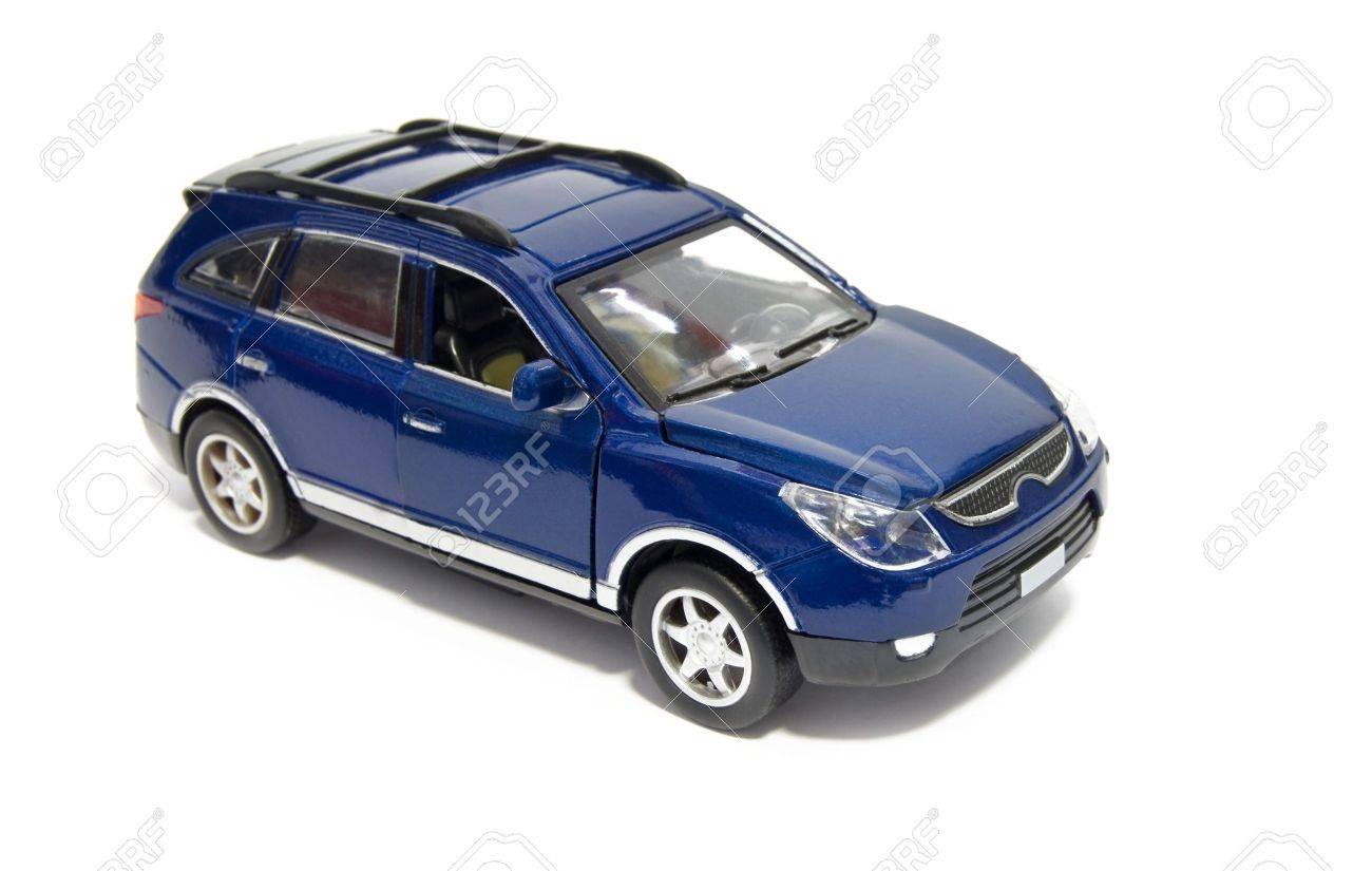 model of blue car is isolated on a white background - 8056024
