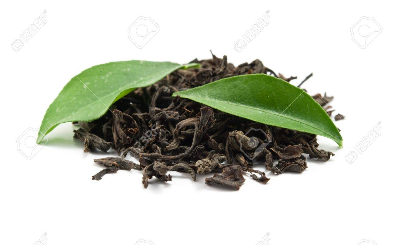 black tea and leaves is isolated on a white background - 9159143