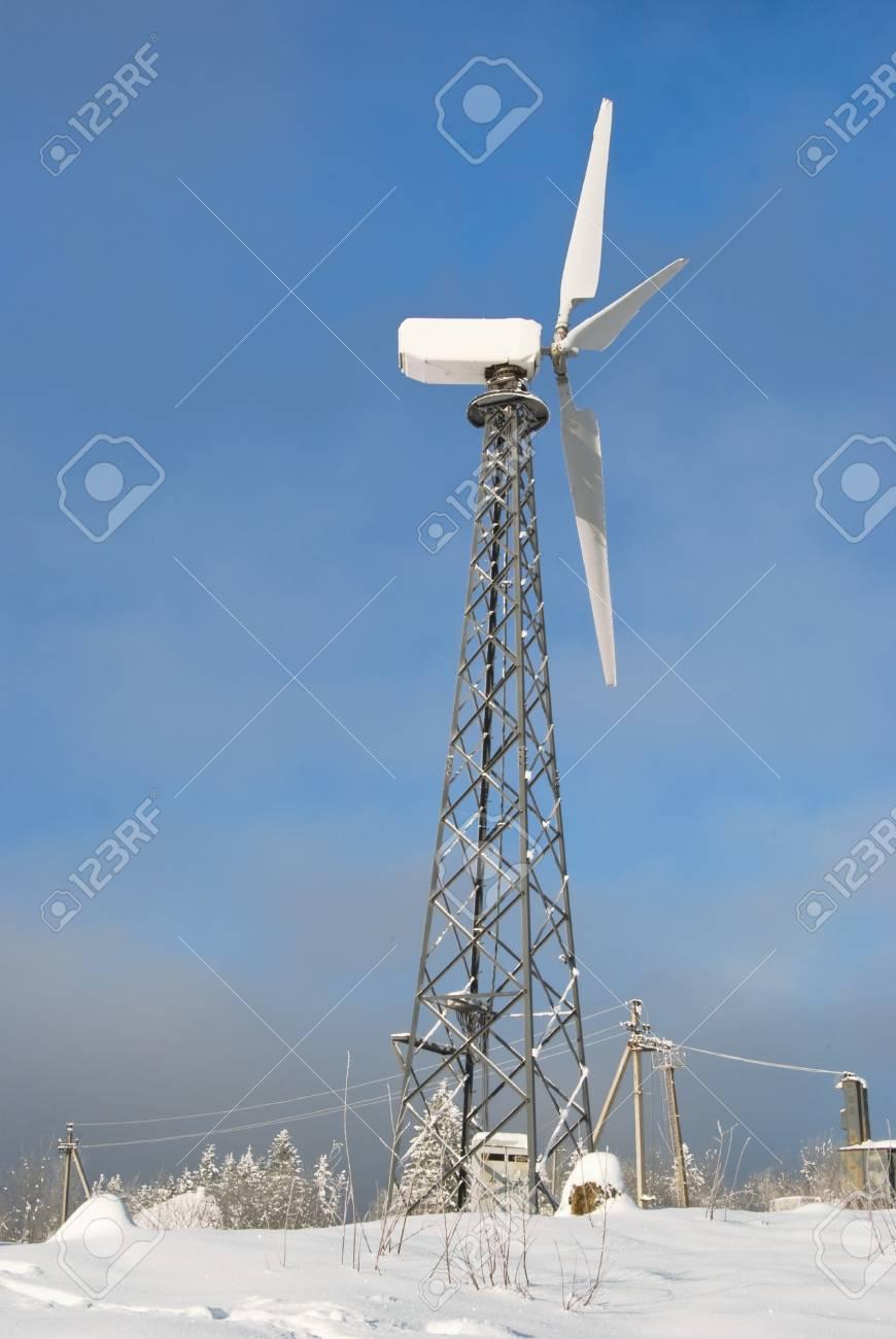 wind turbine is on a background sky Stock Photo - 10038535