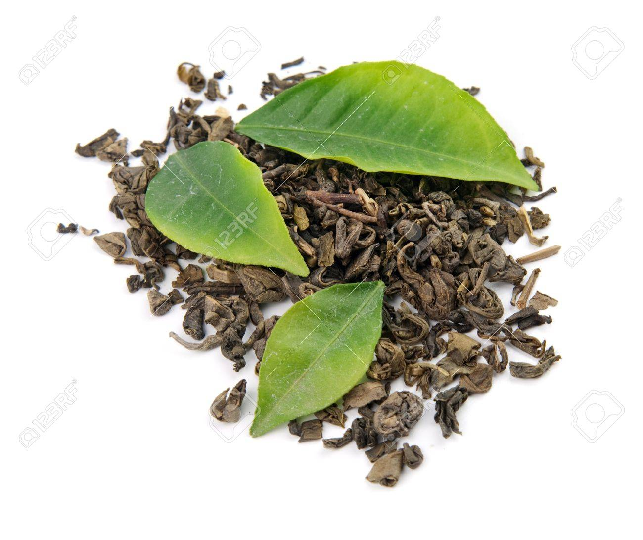 green tea and leaves is isolated on a white background - 12932118