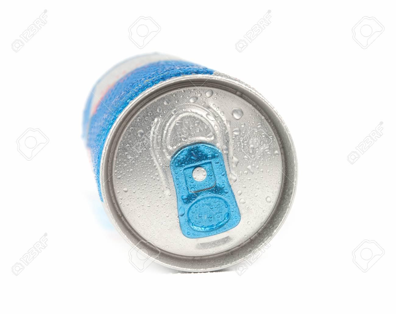 energy drink in blue metal can - 17093726