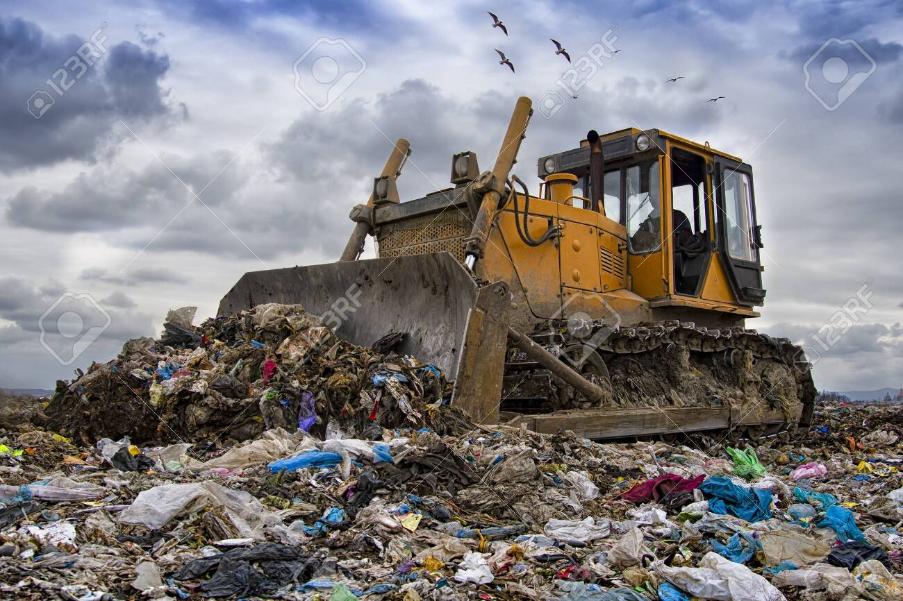 bulldozer working on landfill with birds in the sky - 133995001