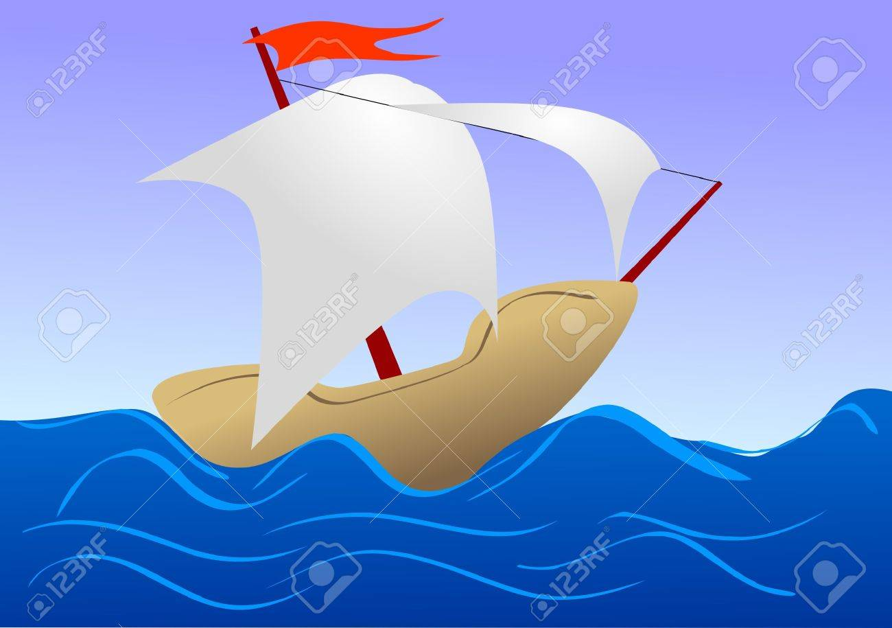 Illustration of sea ship in child's drawing style Stock Vector - 10841959