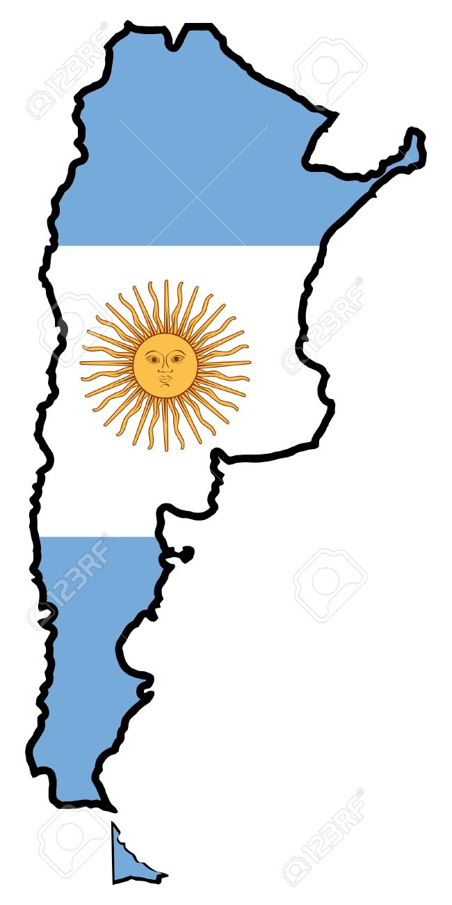 Illustration Of Flag In Map Of Argentina Royalty Free Cliparts - Argentina map vector free