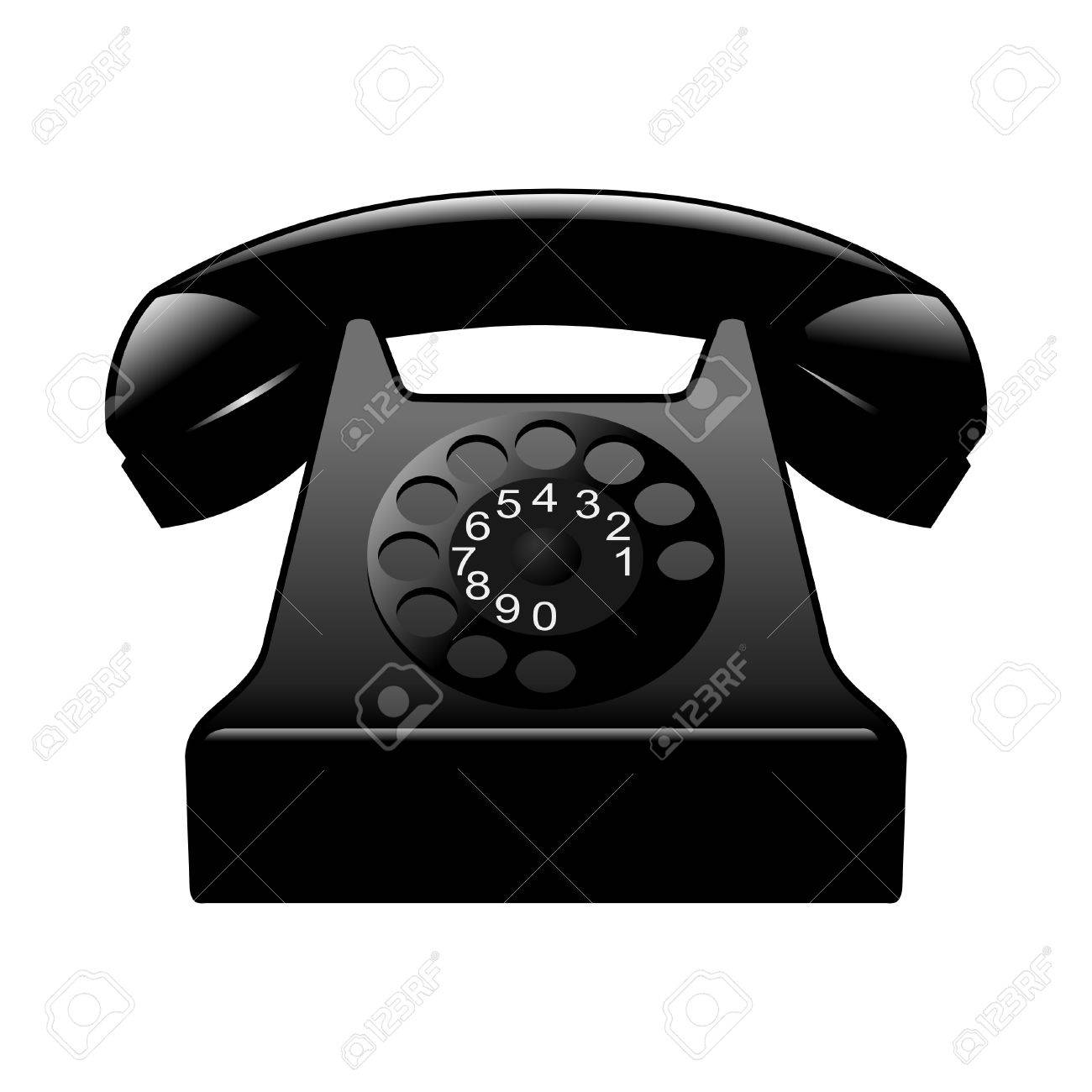 Old black phone on white Stock Vector - 10881917