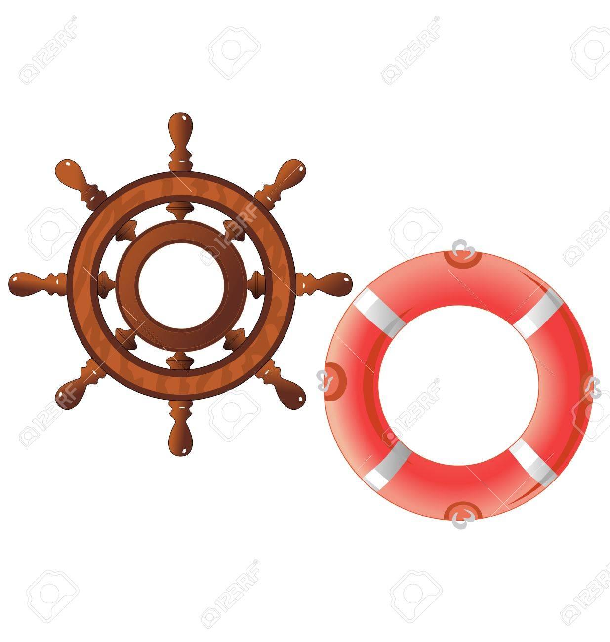 Набор рулевое колесо и спасательный круг Клипарты, векторы, и Набор Иллюстраций Без Оплаты Отчислений. Image 11375947.