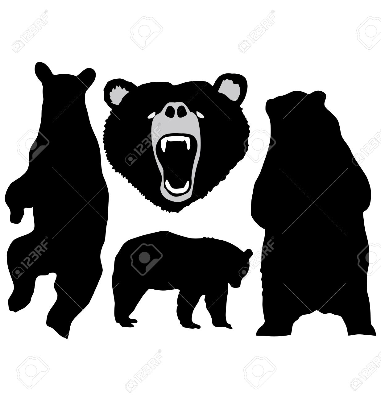 The set of the silhouettes of the bear Stock Vector - 11376066