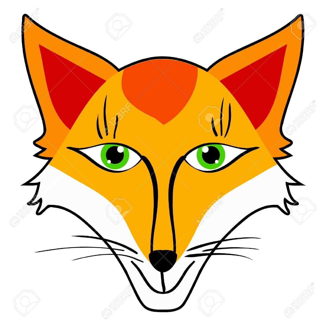 Cartoon vector illustration of  Fox Head Illustration