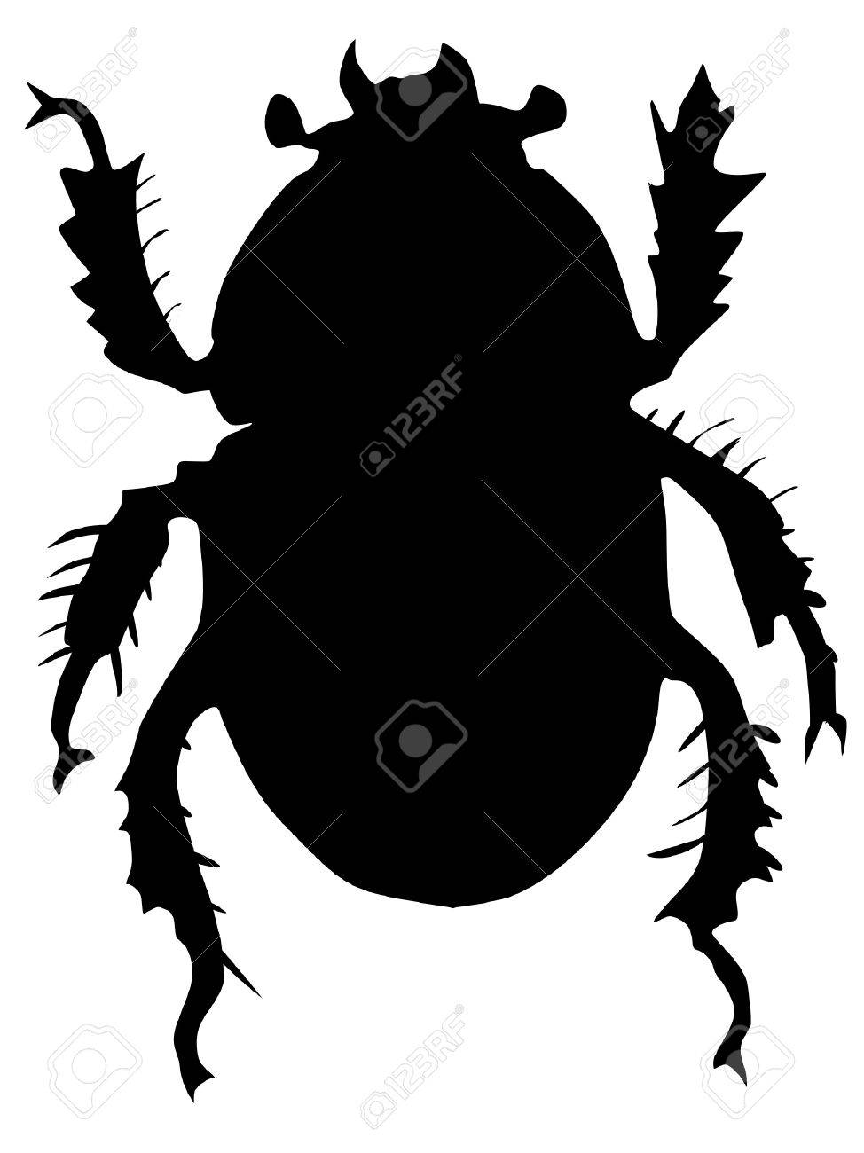 One illustration of the silhouette of dor or Geotrupes stercorarius Stock Vector - 11611559
