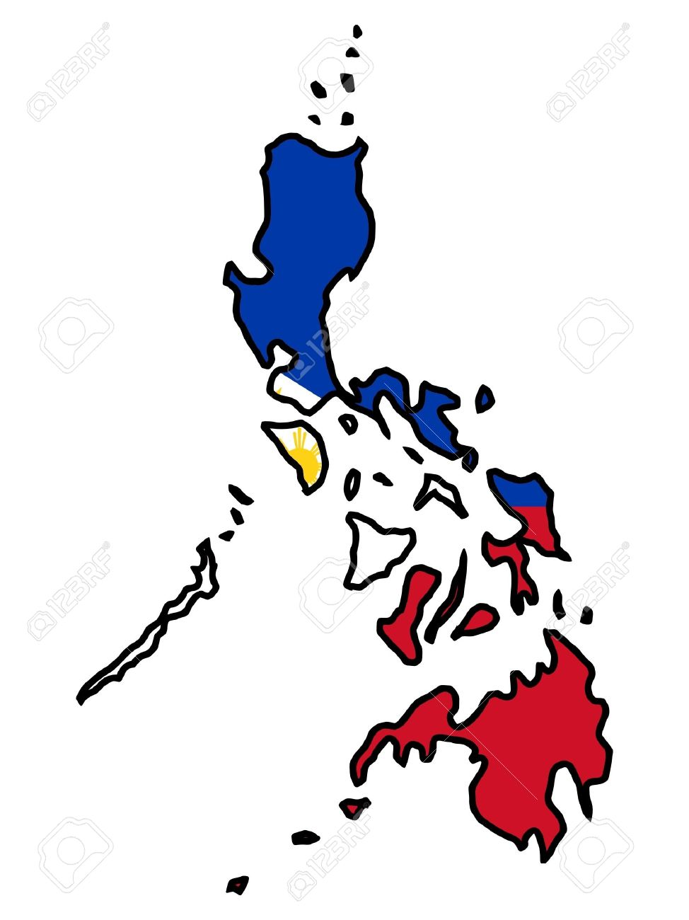 illustration of flag in map of philippines royalty free cliparts