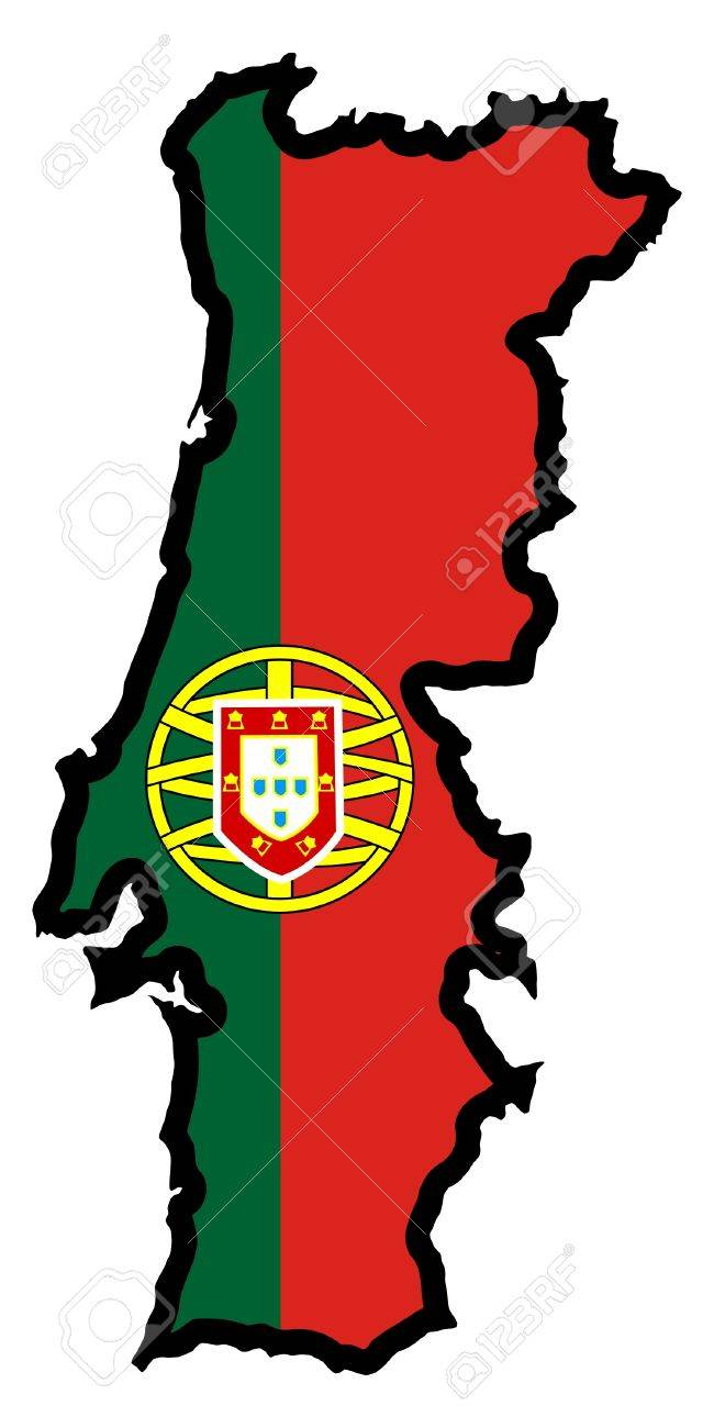 Illustration Of Flag In Map Of Portugal Royalty Free Cliparts - Portugal map flag