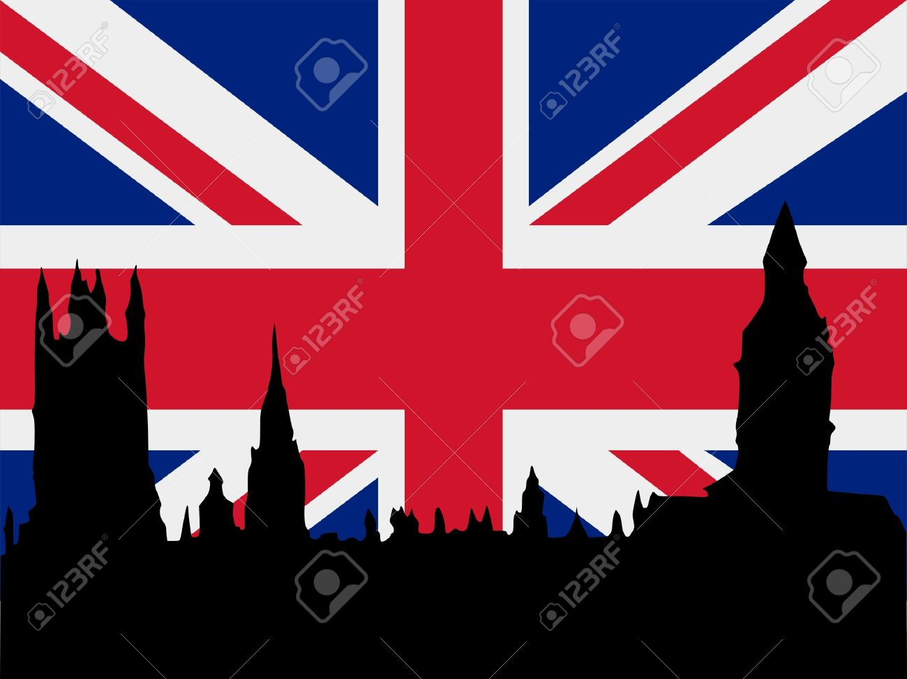 Silhouette Of London On United Kingdom Flag Background Stock Vector