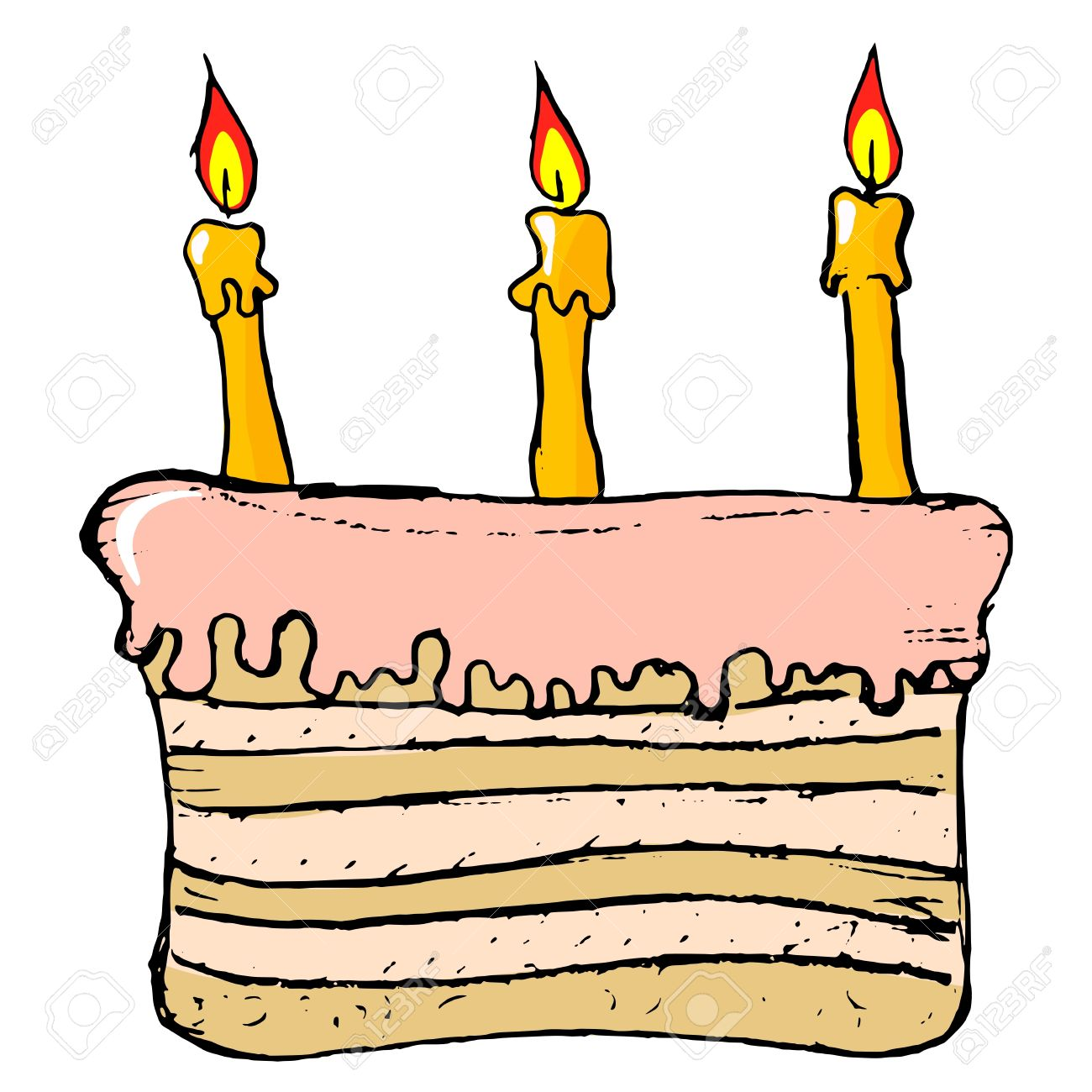 Hand Drawn Cartoon Image Of Birthday Cake Royalty Free Cliparts