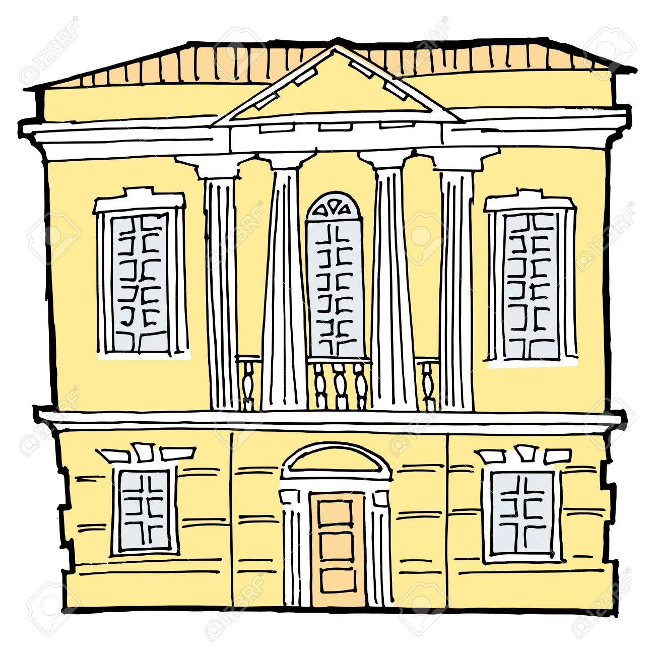 hand drawn, vector, sketch image of house in classical style Stock Vector - 17388811