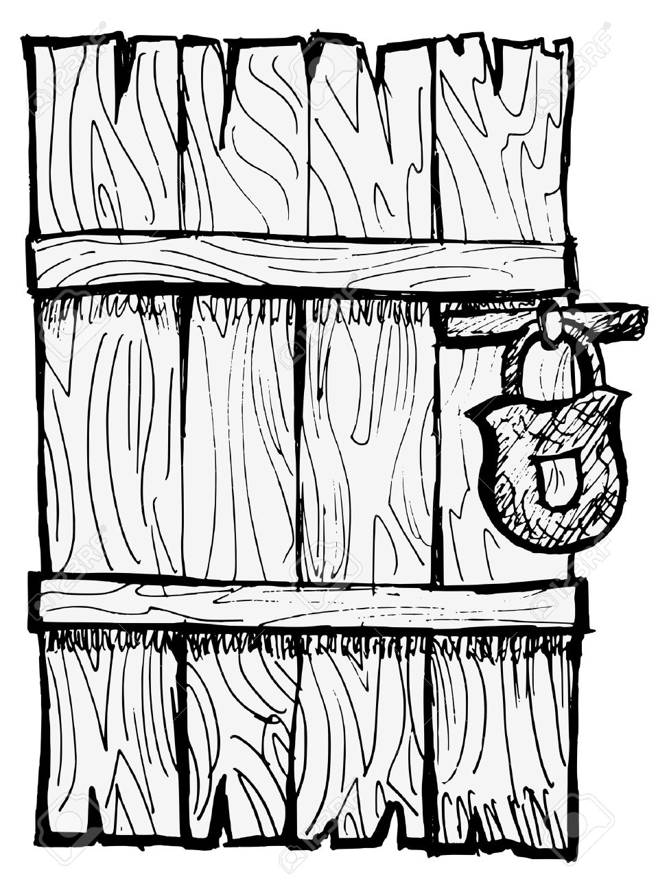 Closed Door Drawing old wooden, closed door with a lock royalty free cliparts, vectors