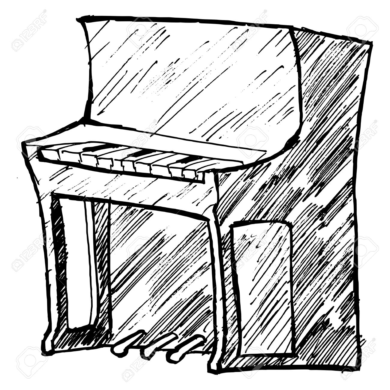 hand drawn, sketch, cartoon illustration of piano Stock Vector - 20044104