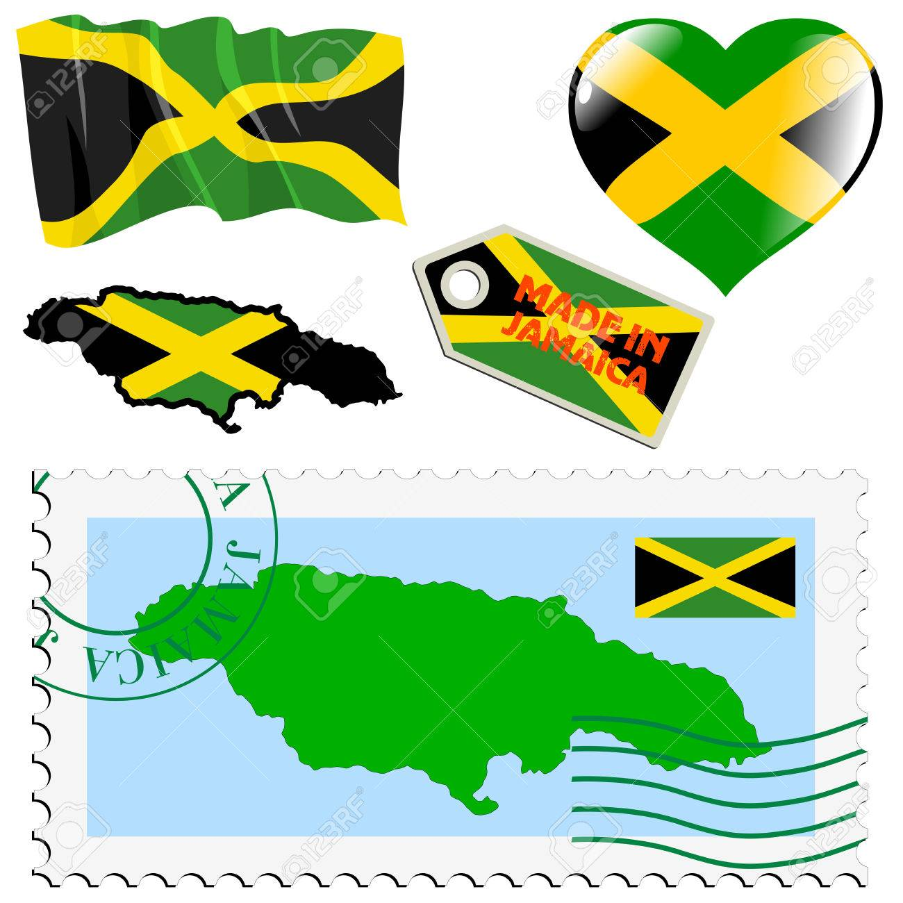 Set Of Different Symbols In National Colours Of Jamaica Royalty Free
