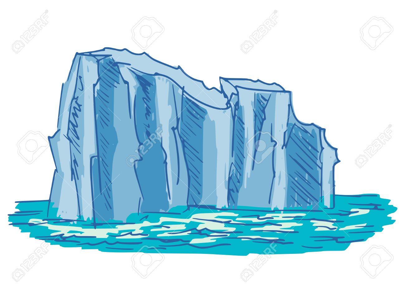 hand drawn, cartoon, sketch illustration of iceberg Stock Vector - 24892575
