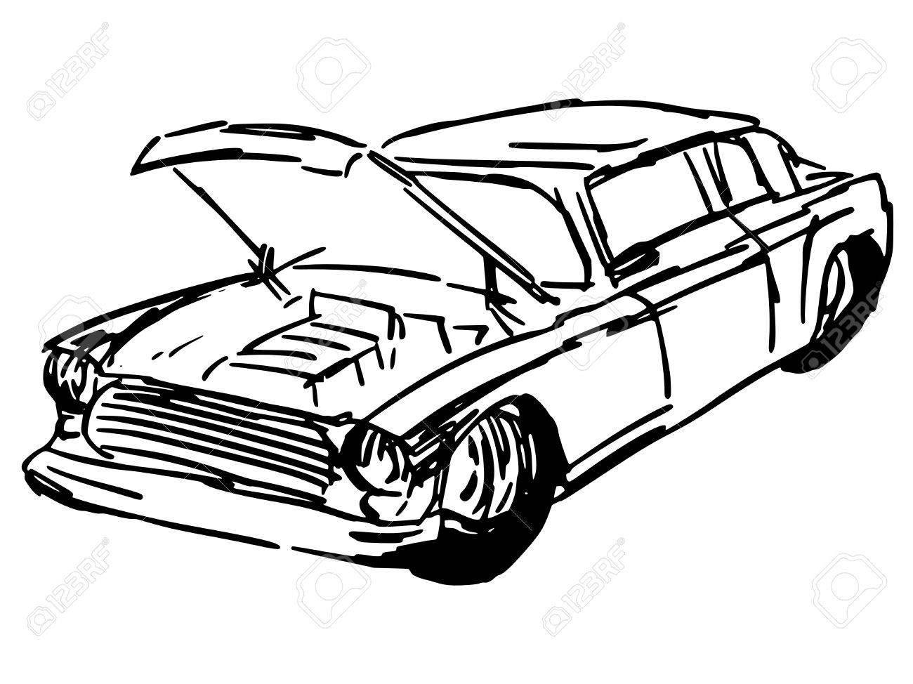 Hand Drawn, Sketch, Cartoon Illustration Of Car Hood Royalty Free ...