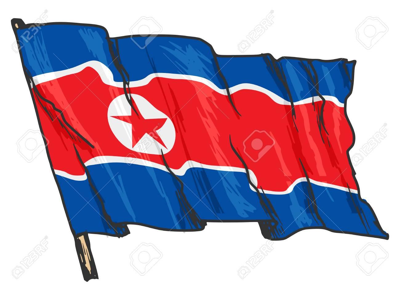 hand drawn illustration of flag of North Korea Stock Vector - 29651317