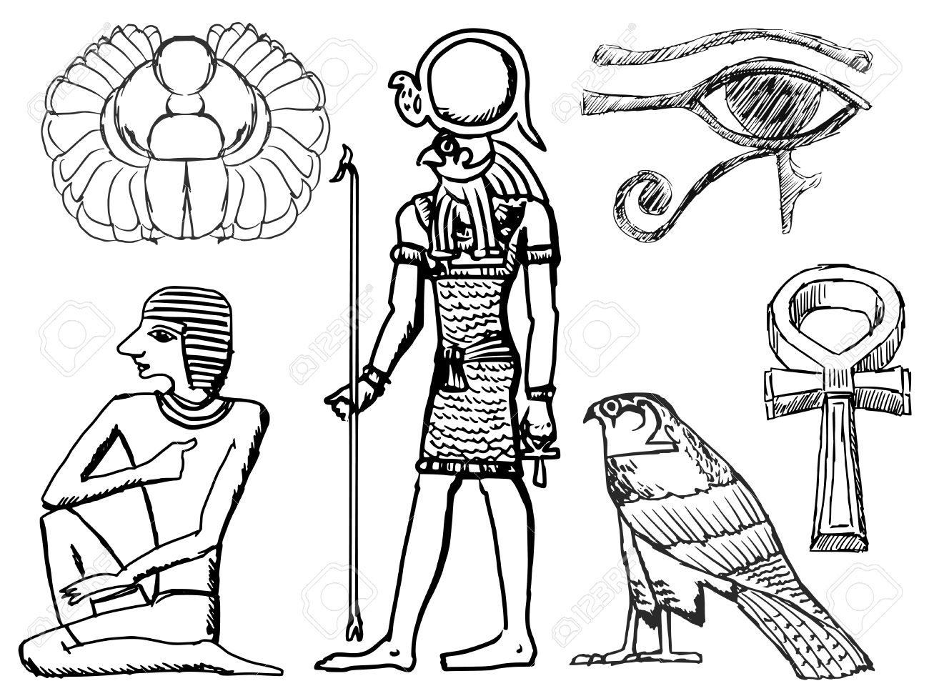 Set of sketch illustrations of ancient egyptian symbols royalty set of sketch illustrations of ancient egyptian symbols stock vector 37754487 buycottarizona